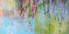 """Modern Art-- Large Set of 2 Wisteria Diptych 30"""" x 60""""  """"Birth of Wisteria in Spring"""""""