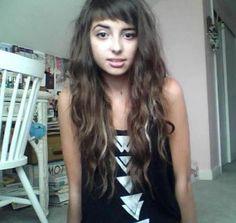 Long hair, short bangs.