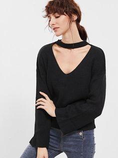 Black Choker Zip Back Sweater
