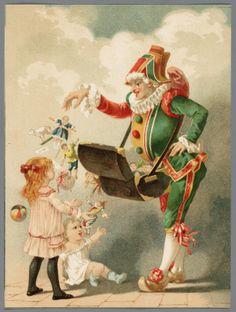 Grafiek in kleur, voorstellende Polichinelle welke aan 2 kinderen poppen geeft