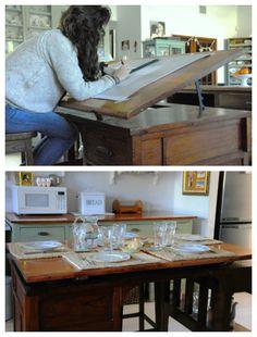 """Precioso tablero (amo esa base para organizar de todo!!) Desde el blog Tazas & Cuentos """"...entre el mostrador y la mesa que está contra la pared está la mesa donde comemos siempre. Es un viejo tablero de dibujo... No imaginé en ese momento que le iba a venir tan bien a una de mis hijas para hacer sus planos, por lo que a veces hay que echarla a la hora de cenar"""""""