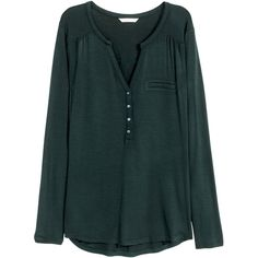 H&M Jersey top ($17) ❤ liked on Polyvore featuring tops, shirts, petrol, green jersey, v neck tops, green top, green long sleeve shirt and long sleeve jersey shirt