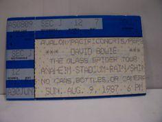 david bowie vintage concert ticket stub 1987