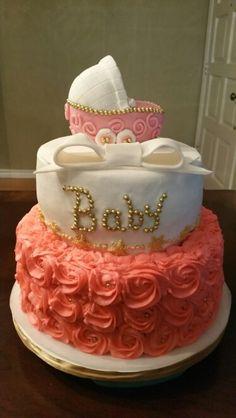 Baby rose themed cake. Beautiful!   Deb's