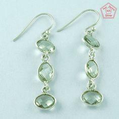 Green Amethyst Stone 925 Sterling Silver Prestige's Design Earrings E2893 #SilvexImagesIndiaPvtLtd #DropDangle