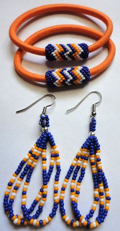 Native American Beaded Earrings With Matching Hair Ties - OKC Thunder basketball colors! by AlphaMelsBeadwork, $12.00