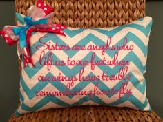 Sisters are angels who lift us to our feet when our wings have trouble remembering how to fly  Pi Beta Phi Sorority Pillow Cover Great little sis gift