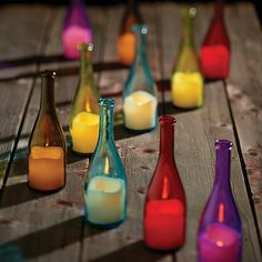 LED Candle Bottles – sophisticated outdoor lighting for your party.