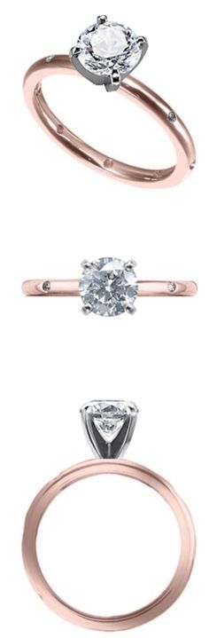 Beautiful Stackable Engagement Ring with Flush Set Diamonds in 14K Pink Gold