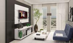 Conjunto para Sala de Estar com Rack com rodízios, Painel para TV e Mesa de Centro Branco/Preto - Caaza
