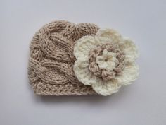 Knit Baby Girl Cable Hat Baby Hat Photo Prop by KnittingLand