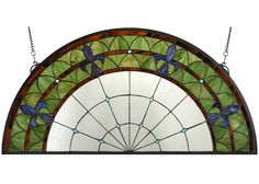 "35.5""W X 18""H Fleur-De-Lis Stained Glass Window"