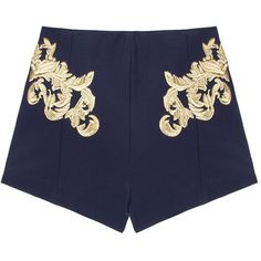 Finders Keepers Symphone Shorts ($164) ❤ liked on Polyvore featuring shorts, bottoms, pants, blue, embroidered shorts and blue shorts