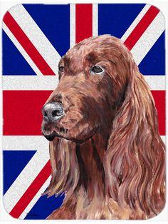 Irish Setter with Engish Union Jack British Flag Mouse Pad - Hot Pad or Trivet SC9870MP #artwork #artworks