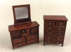 Miniature Dollhouse MID CENTURY MODERN IN 1:24TH SCALE! Dresser Set Mirror COOL! #Unknown