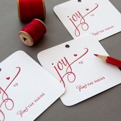 Personalized Letterpress Holiday Gift Tags - Joy - Set of 50