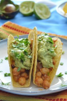 Chickpea Tacos with Guacamole - ps - just meal prepped this for this week, can't wait to try it out.  Had a little taste, and it's already heavenly - Carmela UPDATE: holy moly taco, YUMMMY IN MY TUMMY! Yes.