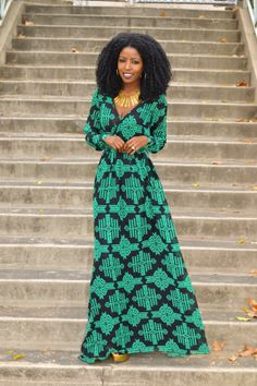Patterned Maxi Wrap Dress. Beautiful Big Hair. Love =}