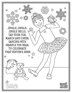 Jingle Bells Holiday Coloring Page from DanceStudioOwner.com #dancestudioowner #dancecoloringpage