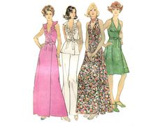 1970s Front Wrap Halter Dress Pattern Von by PrettyPatternShop