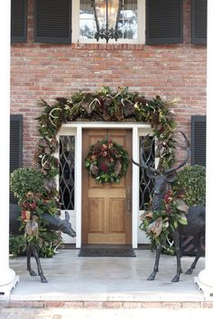 Forest-inspired décor greets guests to the Georgian-style residence of outdoorsman Witt Stephens Jr., his wife, Carol, and their family. Designers Gail Connor and Johanna Oswald of The Accessory in Little Rock created the garland and wreaths using pine, cedar, magnolia and holly branches, with sugar pine cones, rustic antlers and pheasant feathers woven in for a country manor appearance.