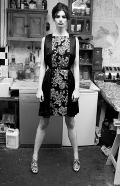 Raimunda Black Floral Mid Length Backless Dress by annapopovich