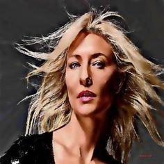 Original Celebrity Painting by Acqua Luna Cate Blanchett, Acrylic Spray Paint, Saatchi Art, Original Paintings, Wonder Woman, Celebrities, Artwork, Portraits, Paintings