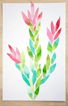 watercolor collage art project - Christmas Cactus