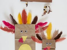 Kid's Thanksgiving crafts while you cook! paper bag turkeys, beaded bracelets and feather headbands.