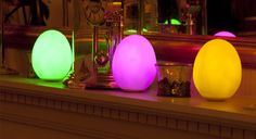 Illuminate your home with the soft, multicoloured glow of three LED egg-shaped lights. Slowly fading through all the colours of the rainbow, these rechargeable lights make stunning centrepieces Centrepieces, Home Insurance, Rainbow Colors, All The Colors, Egg, Household, Glow, Home And Garden, Colours