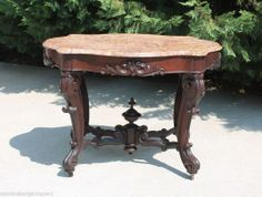 Victorian Rococo Revival Walnut Turtle Top Marble Parlor Center Lamp Table c1860 #Victorian