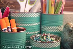 Washi Tape Tin Cans from The Crafted Sparrow