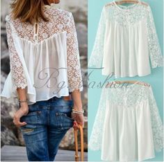 2015 Plus size Women Ladies Casual Lace Shirts Chiffon Blouse T Shirt Tops S-4XL #Zanzea #Blouse #Casual