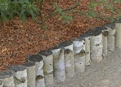 des rondins en bois comme bordure pour jardin