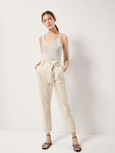fd12a27ca9 CHINO TROUSERS WITH A TIE DETAIL - Women - Massimo Dutti