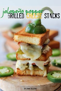 Jalapeño popper grilled cheese stacks - roasted jalapeño neatly tucked in a 2-tier sandwich loaded with applewood smoked bacon and jalapeño jack cheese!