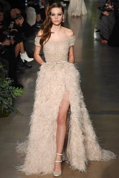 Nude night dress evening dress Elie Saab Haute Couture Spring Summer 2015