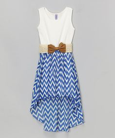 Look at this #zulilyfind! Royal Blue & White Chevron Belted Hi-Low Dress - Girls by Maya Fashion #zulilyfinds