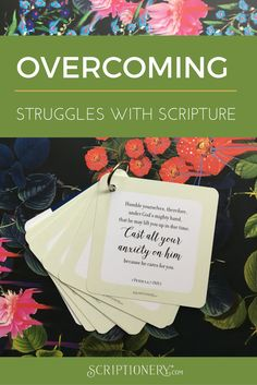 Scripture Memory Cards for Overcoming Worry. Perfect size to throw in your purse!   Humble yourselves, therefore, under God's mighty hand, that he may lift you up in due time. Cast all your anxiety on him because he cares for you.  1 Peter 5: 6,7