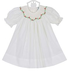 231cc254ad25 NEW Remember Nguyen (Remember When) Antique White Bishop Smocked Dress with  Holiday Embroidery and