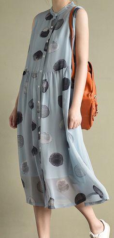 2017 new blue dotted print chiffon sundress plus size casual shirts dresses sleeveless maxi dress4