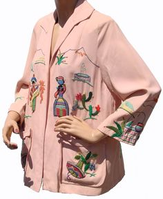 Vintage 1940s Mexican Tourist Jacket // Pink Gabardine Embroidery from poppysvintageclothing on Ruby Lane