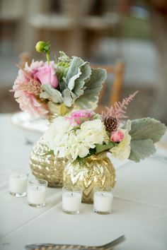 Sweet arrangements of hydrangea, roses, astilbe, dusty miller, dahlias, and scabiosa pods in gold vases