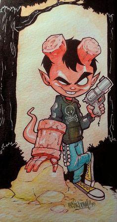Hellboy kid watercolor by renecordova on DeviantArt