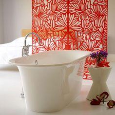beautiful modern design tub, red decorative screen.