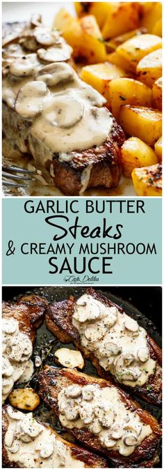 Pan Seared Garlic Butter Steak & Mushroom Cream Sauce is a perfect dinner! A little butter adds something special to your steak in less than 10 minutes! | cafedelites.com #steaks #garlicbutter #dinner #creamy #mushroomsauce