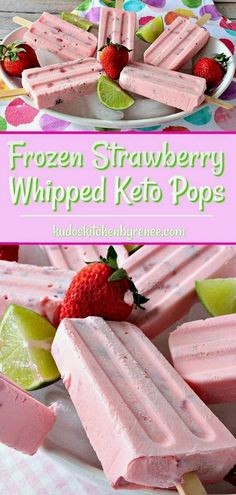 only six ingredients these Creamy Dreamy Frozen Strawberry Whipped Keto Pops are the perfect summertime frozen treat for sticking to your keto diet plan and for indulging in something deliciously sweet. Keto Snacks, Snack Recipes, Dessert Recipes, Keto Diet Foods, Keto Diet Drinks, Dessert Ideas, Cookie Recipes, Dinner Recipes, Low Carb Desserts