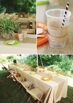 jungle party tablescape decor. Cover table in white or cream color tablecloth with Burlap table runner with vase in the middle filled with jungle leaves.
