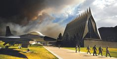 Smoke from the WALDO CANYON Fire rises near the USAF Academy's Cadet Chapel as cadets head for a briefing on evacuation procedures, in Colorado Springs, Colo., June 27, 2012. | Read more: http://newsfeed.time.com/2012/06/12/high-park-wildfires-whip-through-colorado/#ixzz2WQTJNx38