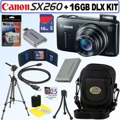 Canon PowerShot SX260 HS 12.1MP CMOS Digital Camera w/ 20x Zoom Lens & 1080p Full-HD Video (Black) + NB-6L Battery + 16GB Deluxe Accessory Kit by Canon. $284.95. Capture It All. The fact that the PowerShot SX260 HS digital camera is an ultra-slim camera with a powerful 20x Optical Zoom, Optical Image Stabilization and 25mm Wide-Angle lens is only the beginning of its attractions. You'll see detail you never thought possible through the huge zoom and wide-angle ...